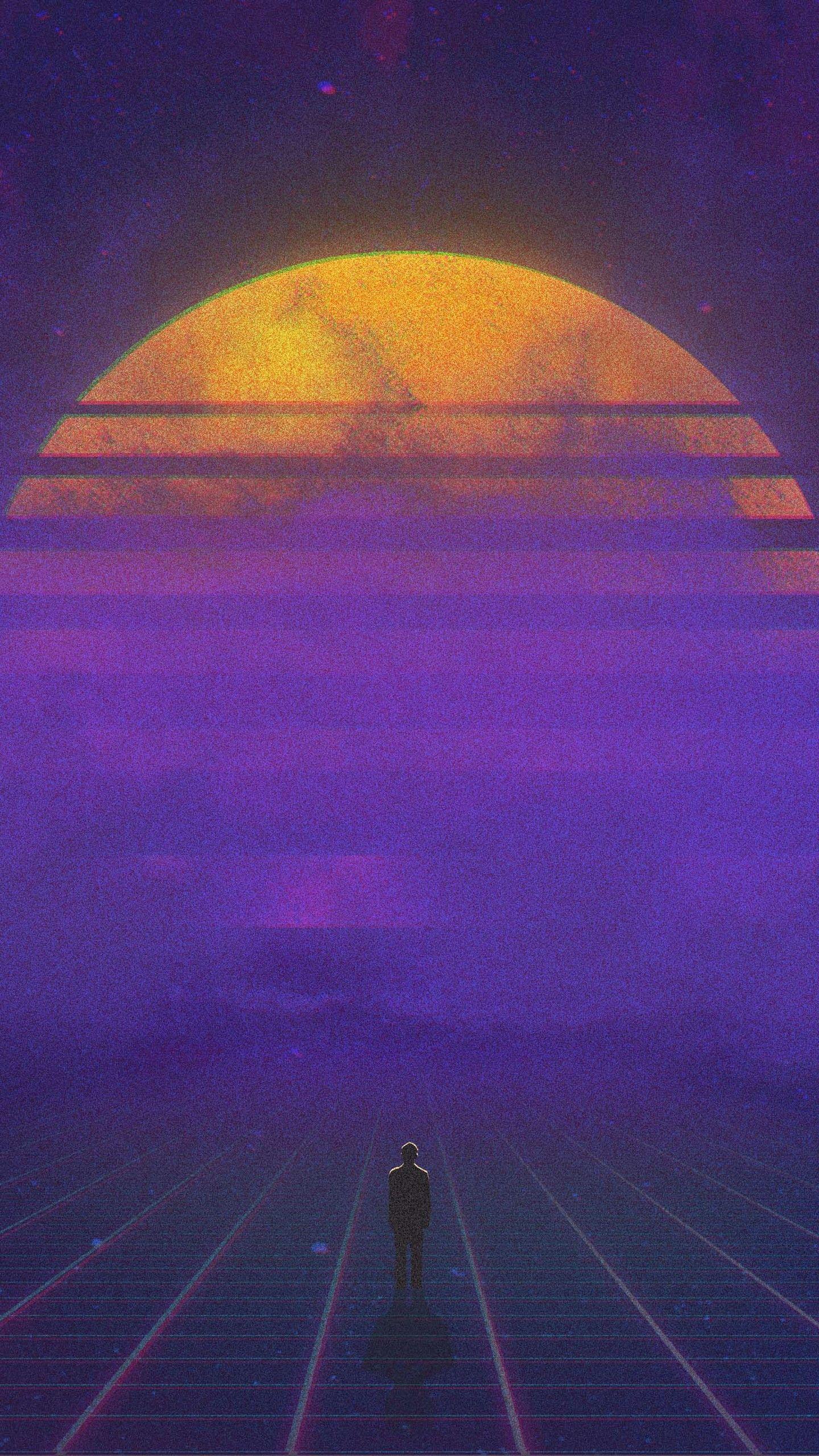 Hình nền 1440x2560 Retro Sunset 4K
