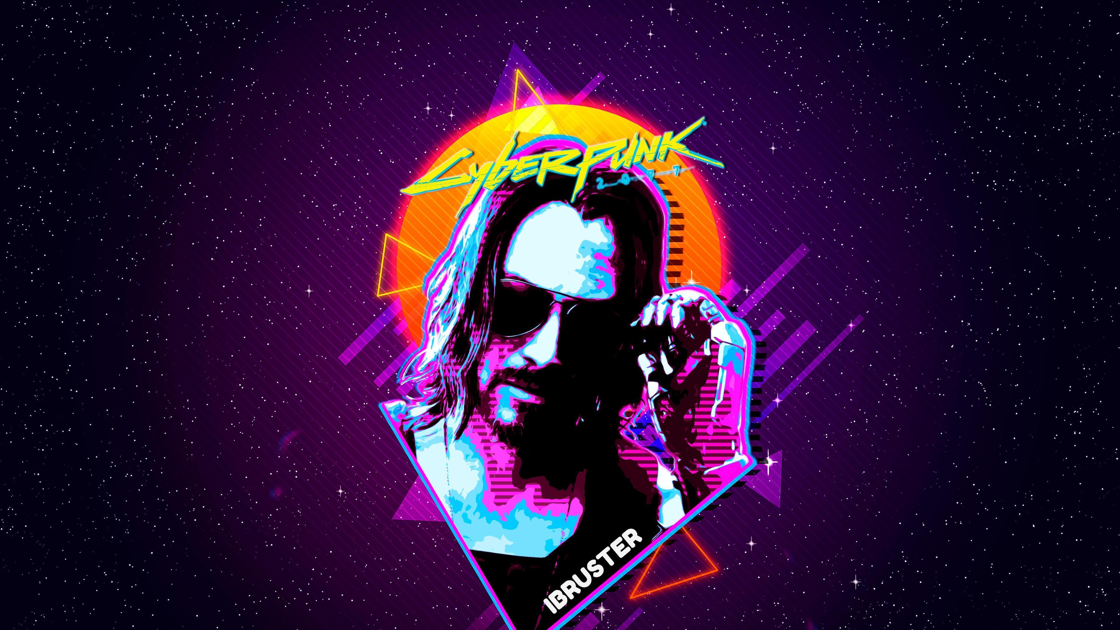 3840x2160 Hình nền 4k Keanu Reeves Cyberpunk 2077 Hình nền 4k Retro