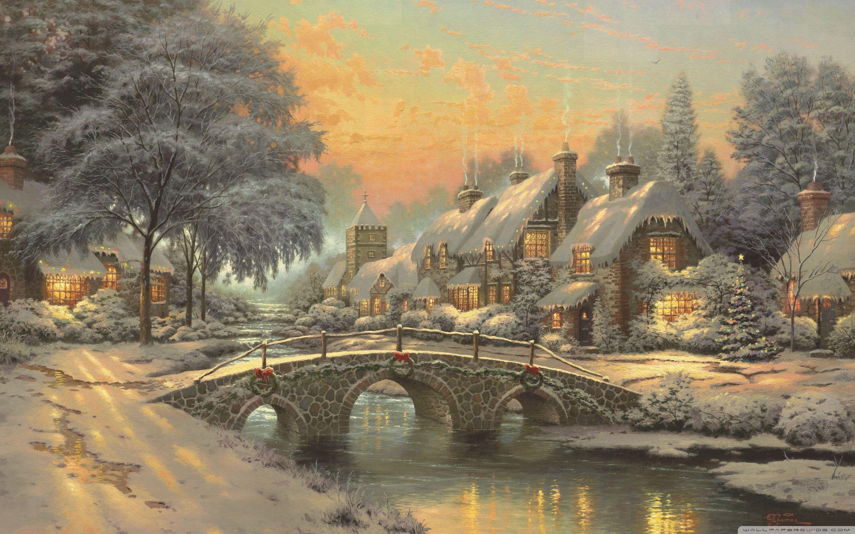 2880x1800 classic christmas painting by thomas kinkade 4k hd desktop - Classic Christmas