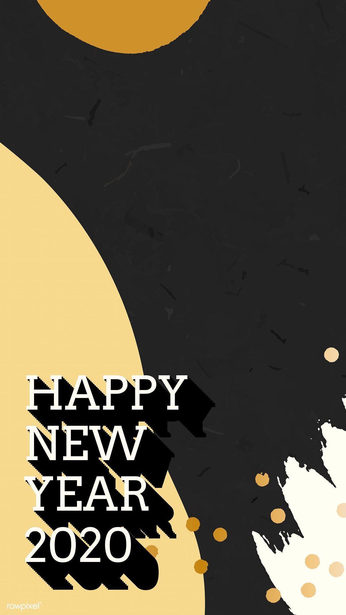1200x2133 Tải xuống vector cao cấp của Chúc mừng năm mới 2020 Memphis trên điện thoại di động
