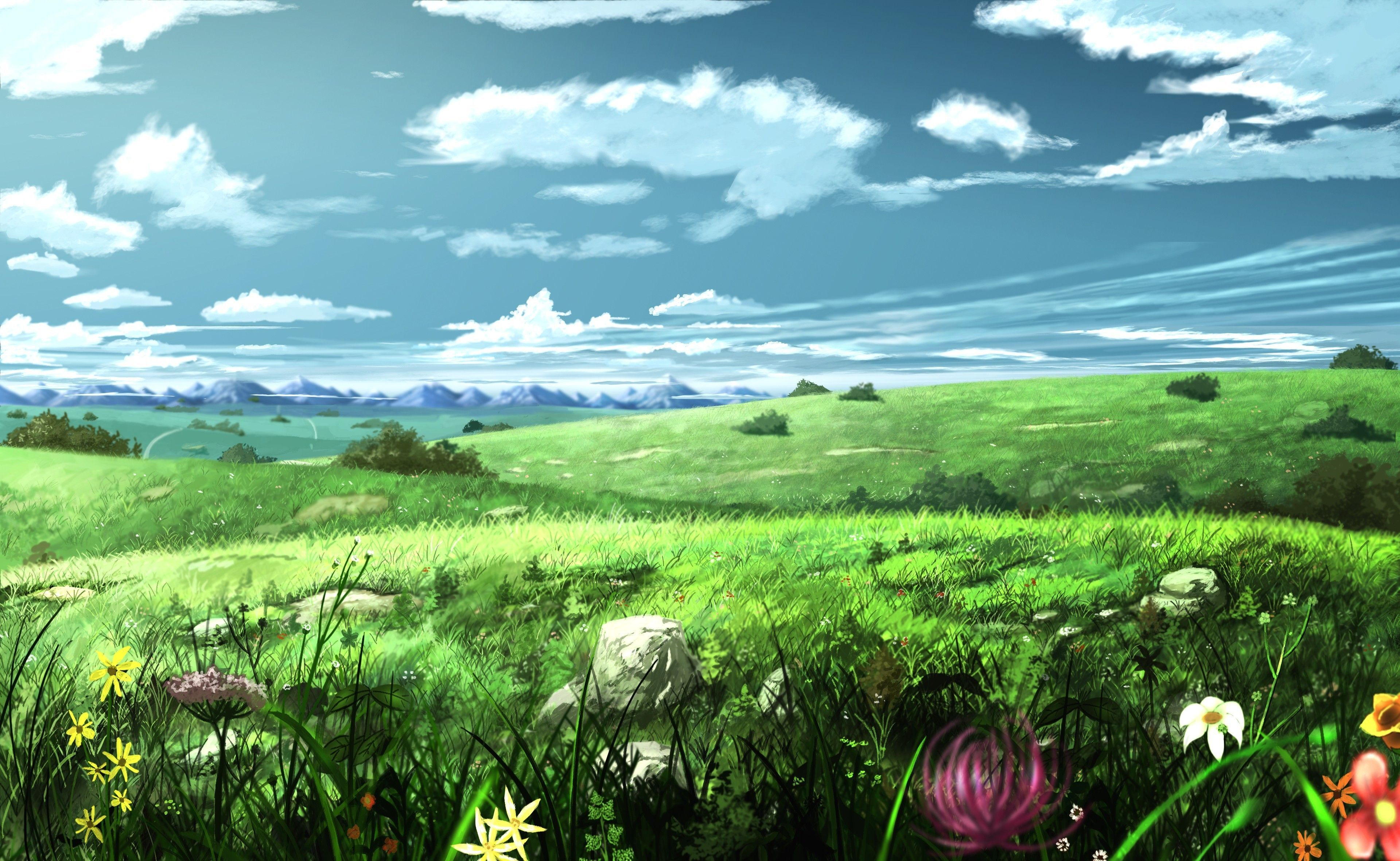 Anime Field Wallpapers Top Free Anime Field Backgrounds Wallpaperaccess