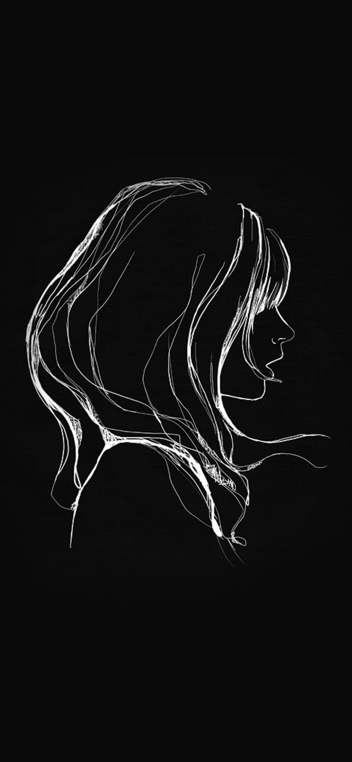 1125x2436 Hình nền iPhoneX: vẽ minh họa cô gái tối giản đơn giản