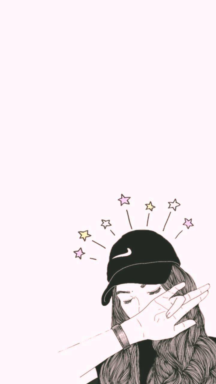 720x1280 Bản vẽ hình nền cô gái dễ thương thẩm mỹ