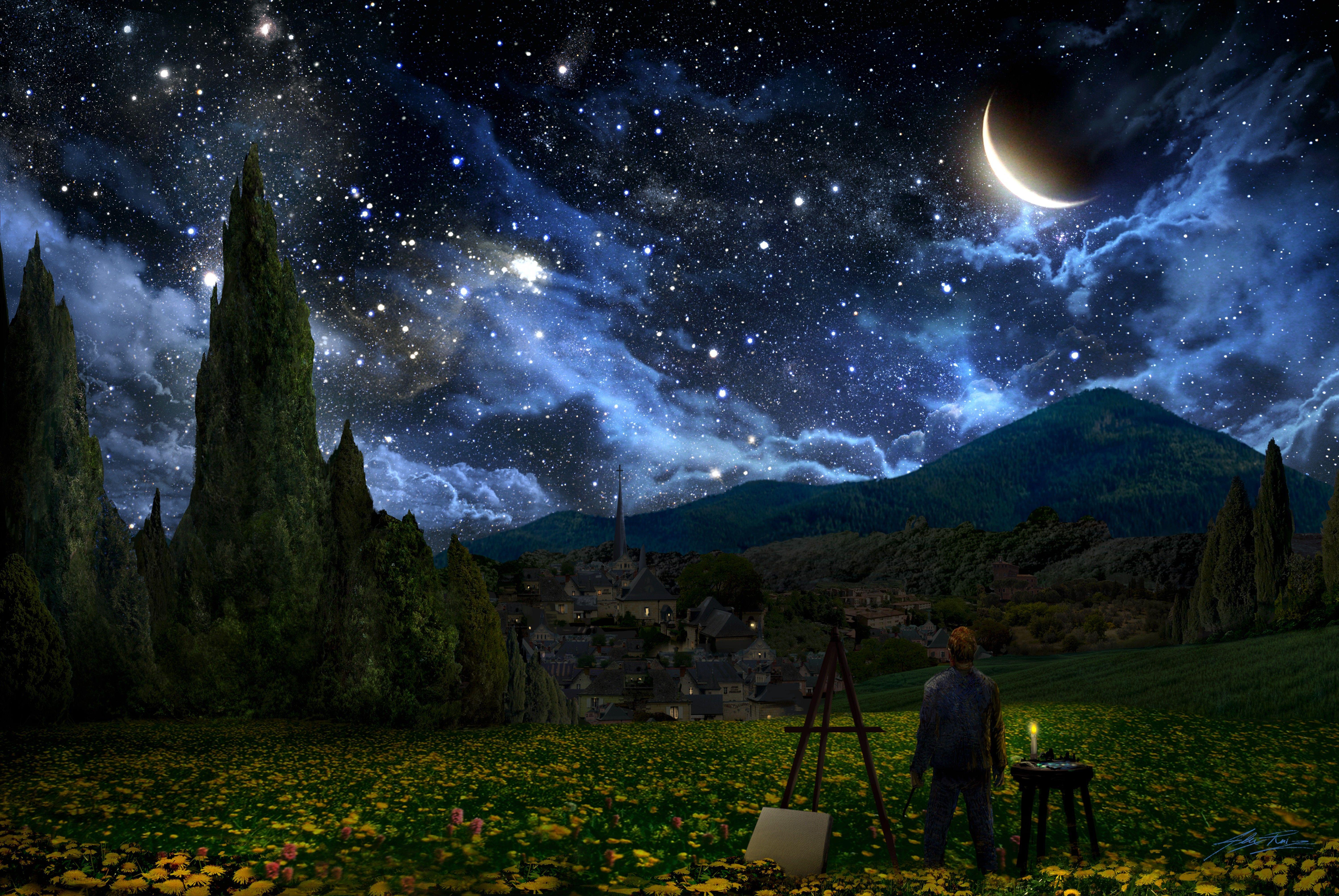 Vincent Van Gogh The Starry Night Desktop Wallpapers Top Free