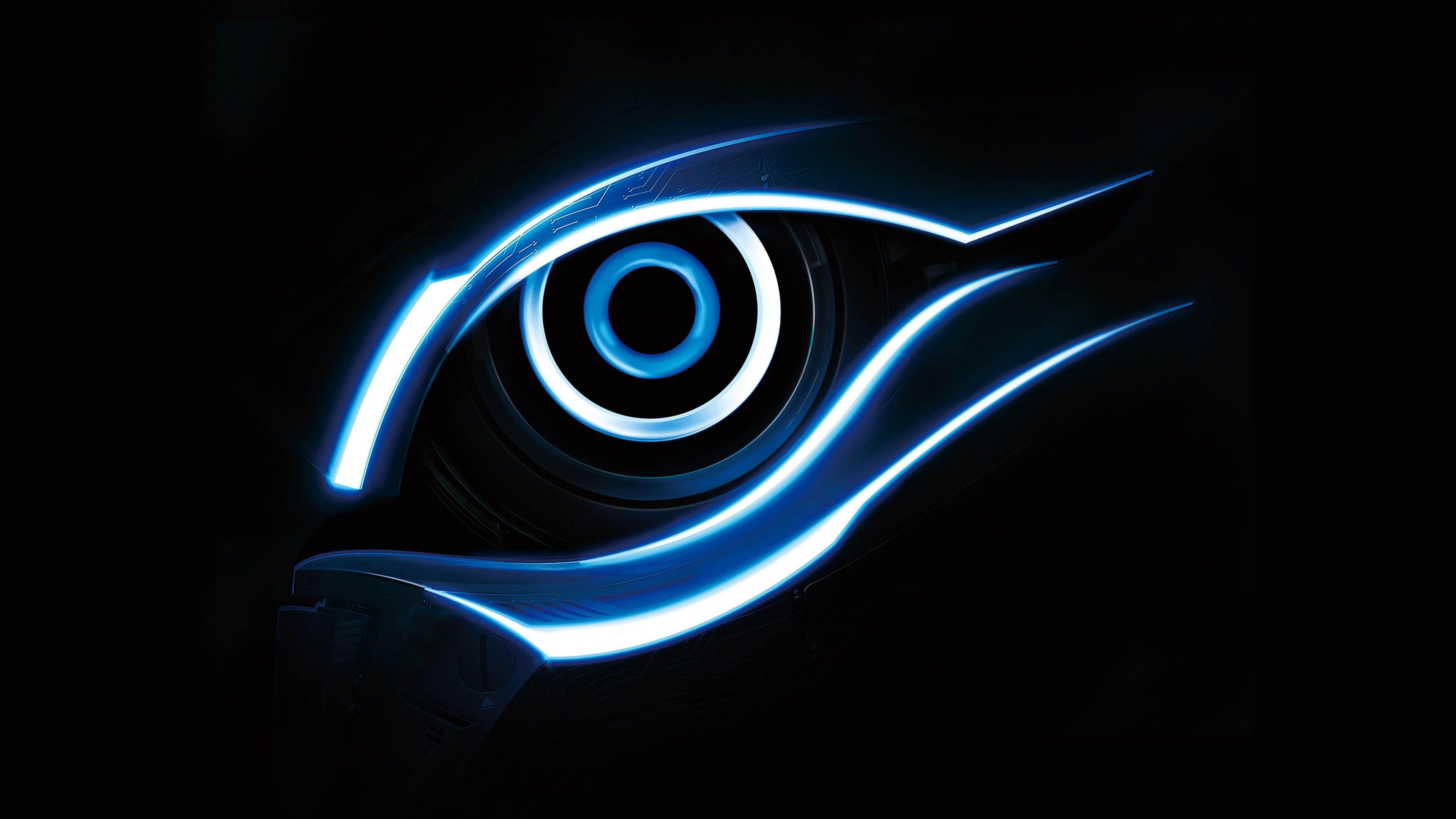3840x2160 Ultra HD 4K Blue Gigabyte Eye Logo Wallpaper Download