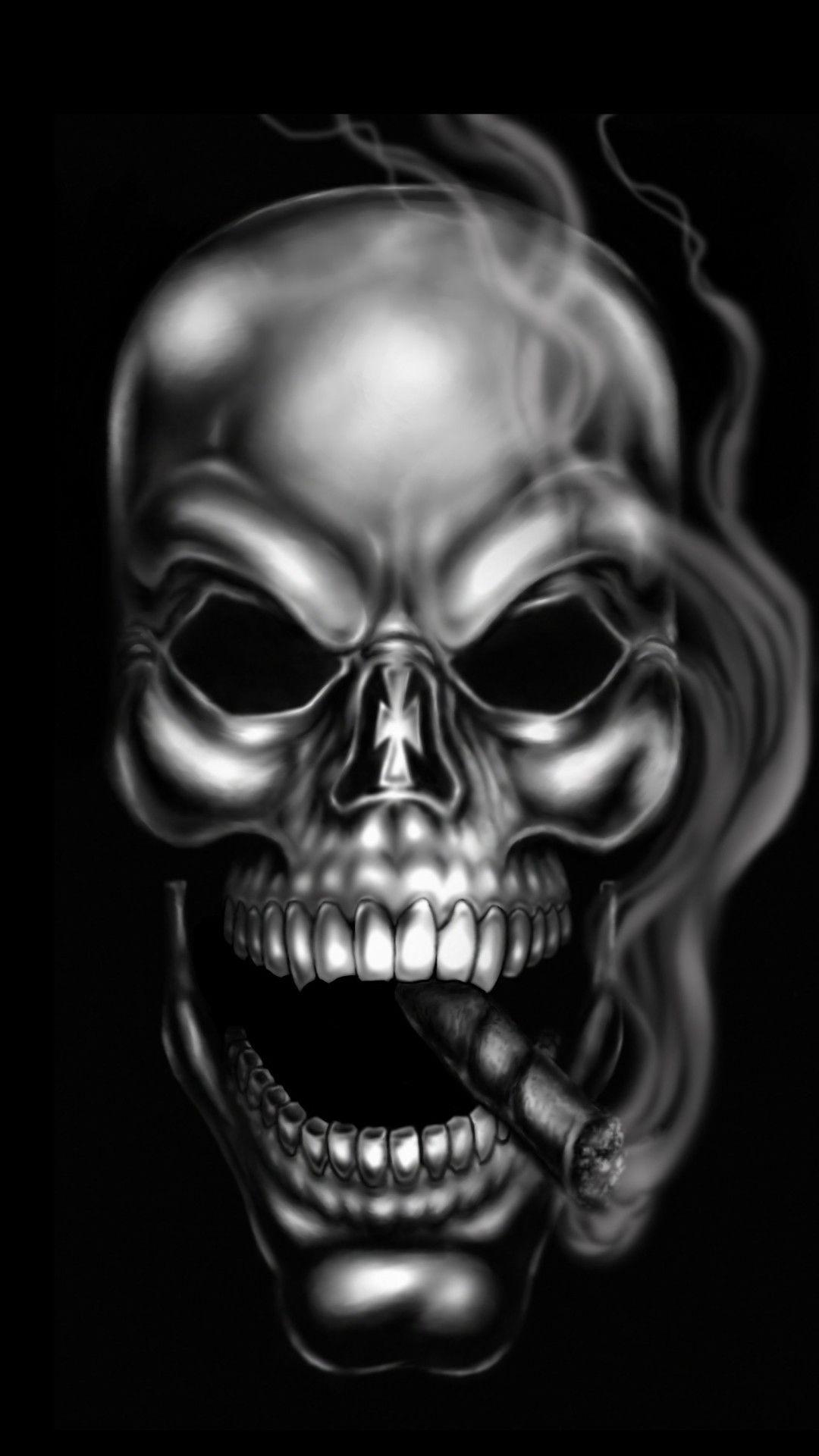 4482x3018 Blue And Black Skull Wallpaper HD