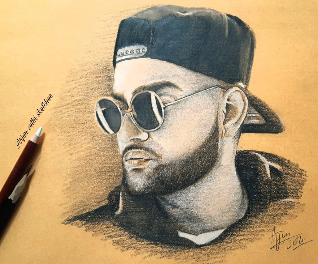 1027x854 Bản vẽ bằng bút chì của ca sĩ Punjabi karan aujla vào năm 2020. Bút chì