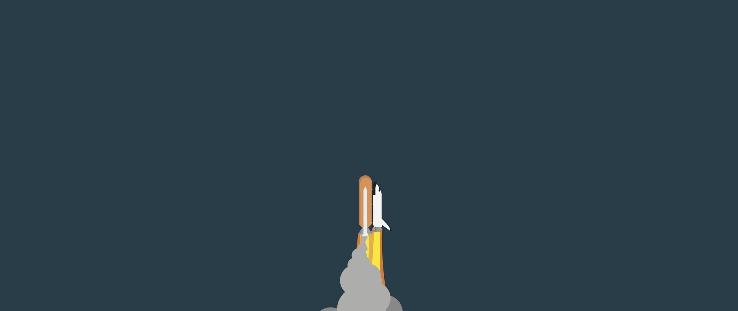 2560x1080 Download 2560x1080 wallpaper minimalist, space, rocket, clouds
