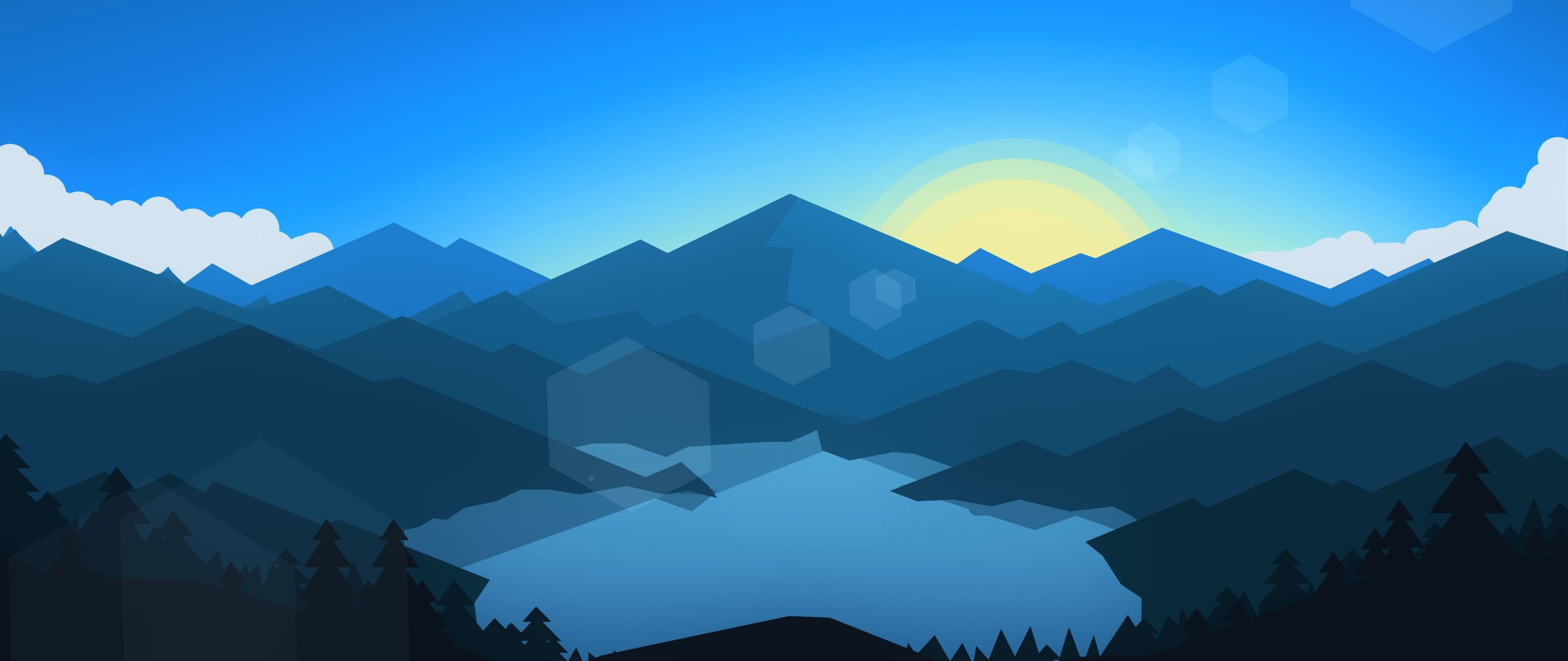 2560x1080 Download 2560x1080 wallpaper forest, mountains, sunset, cool
