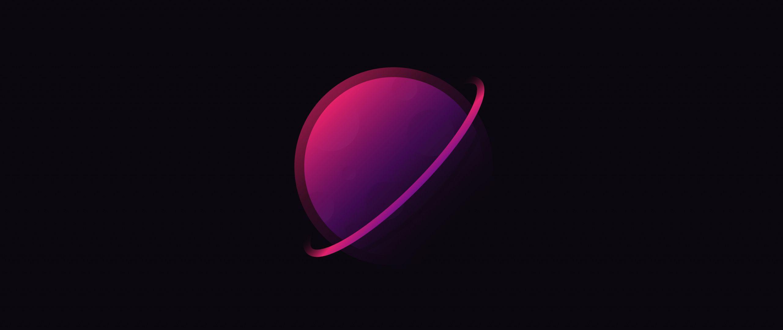 2560x1080 Tải xuống sao Thổ, hành tinh, trừu tượng, hình nền tối giản, 2560x1080