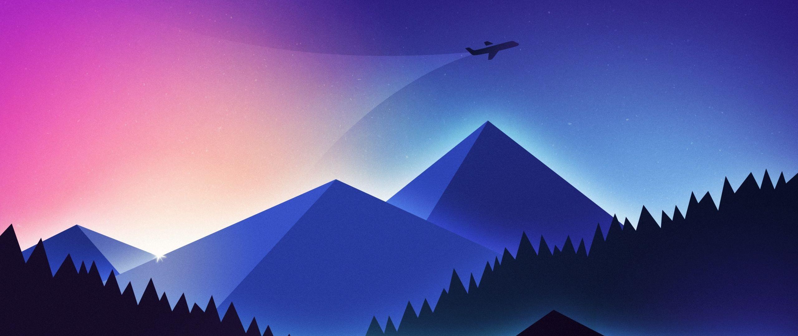 2560x1080 Tải xuống 2560x1080 chủ nghĩa tối giản hình nền, máy bay trên núi