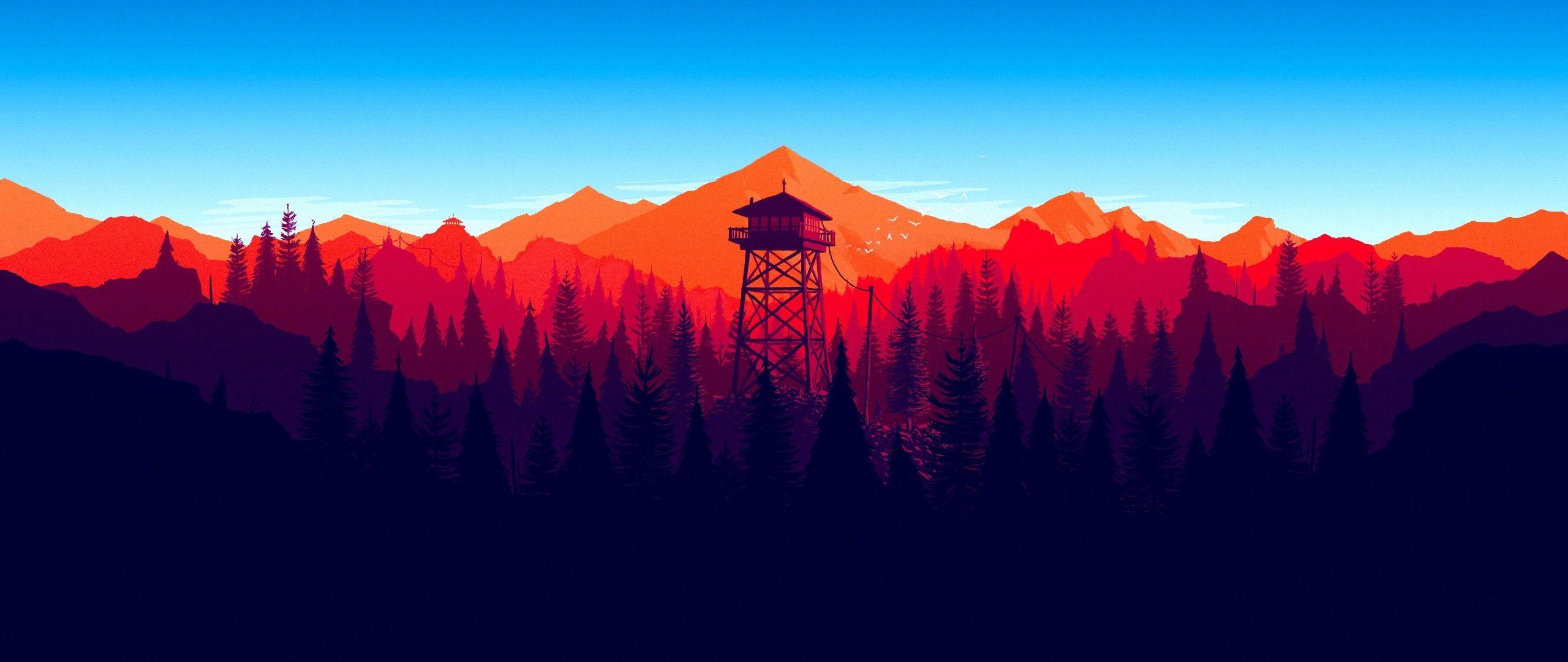 2560x1080 Firewatch Forest Mountains Minimalism 4k 2560x1080