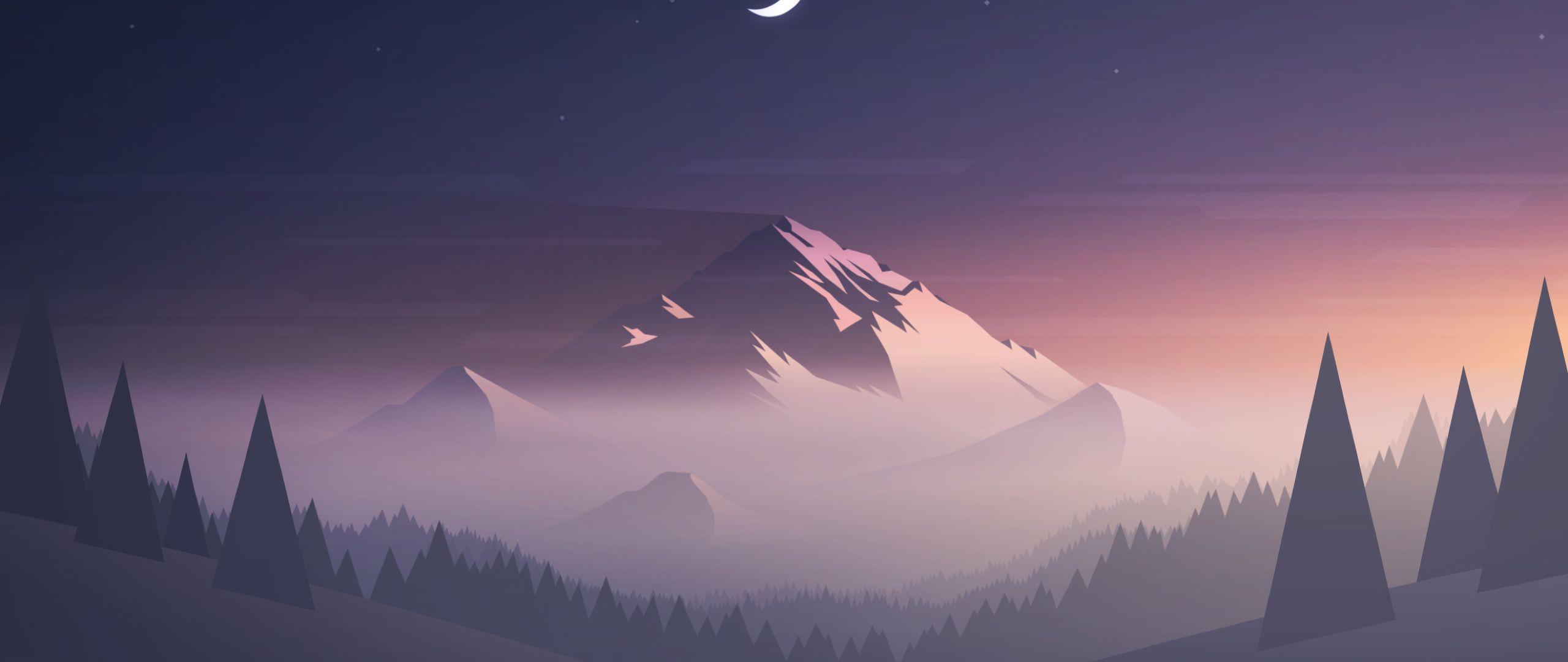 2560x1080 Núi cây Mặt trăng Độ phân giải tối thiểu 2560x1080