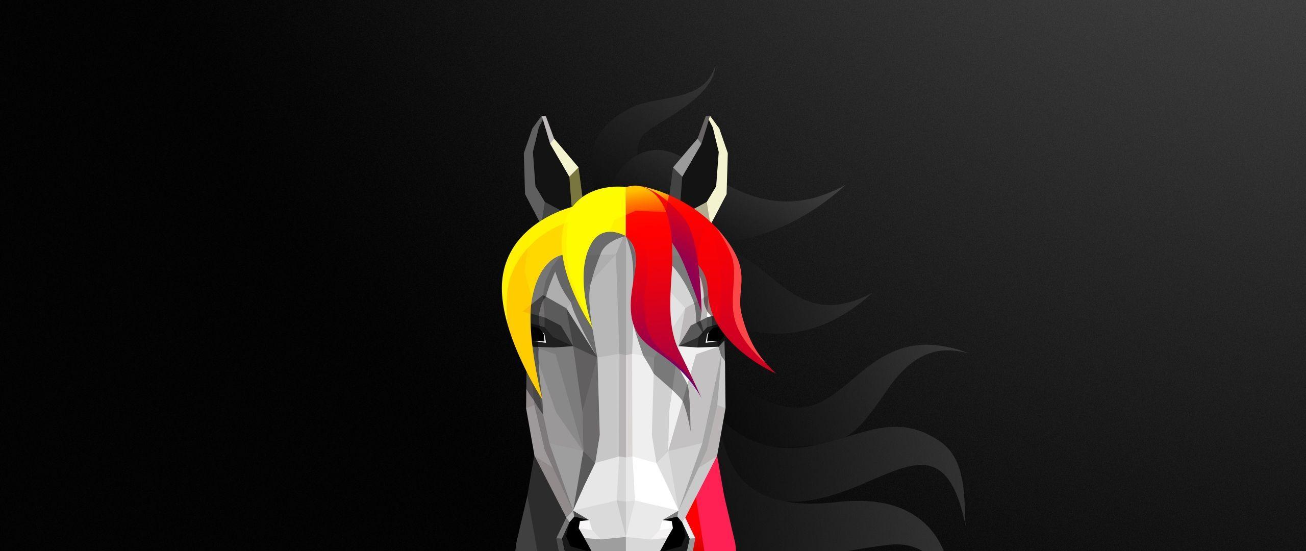 2560x1080 Tải xuống Màn hình rộng kép 8k tối giản trừu tượng ngựa