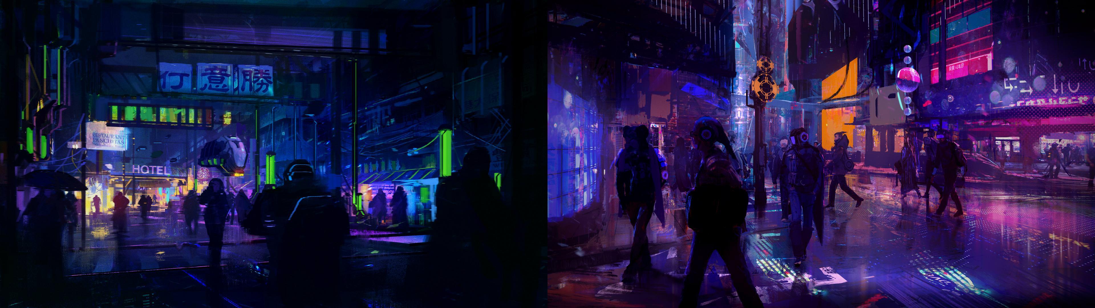 Cyberpunk Dual Screen Wallpapers Top Free Cyberpunk Dual Screen Backgrounds Wallpaperaccess