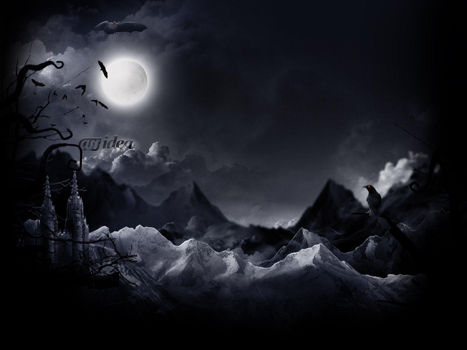 Dark Night With Moon Wallpapers Top Free Dark Night With Moon Backgrounds Wallpaperaccess