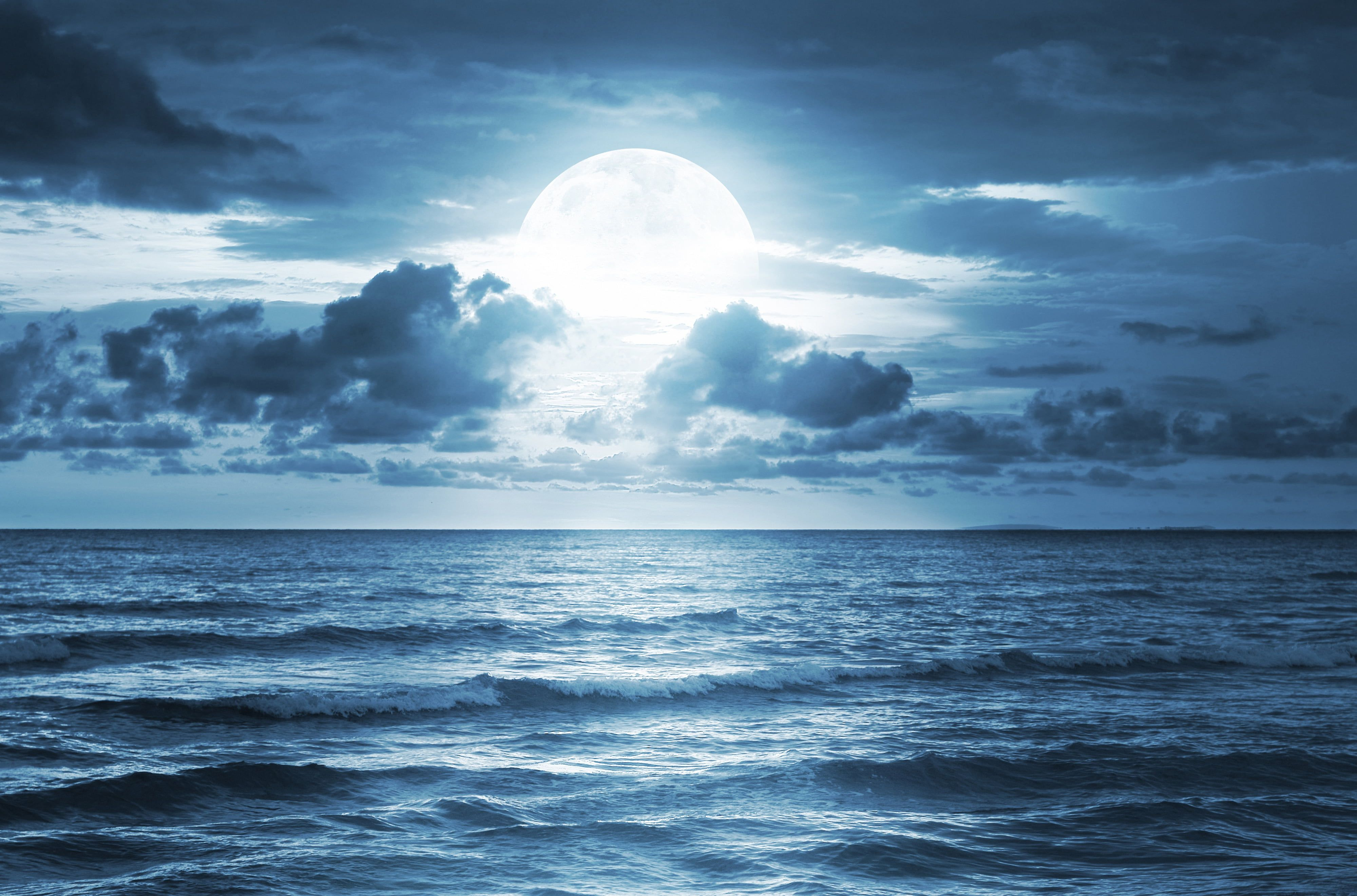 Tropical Waves Sky Mountains Clouds Island Moon Night: Ocean Waves At Night Wallpapers