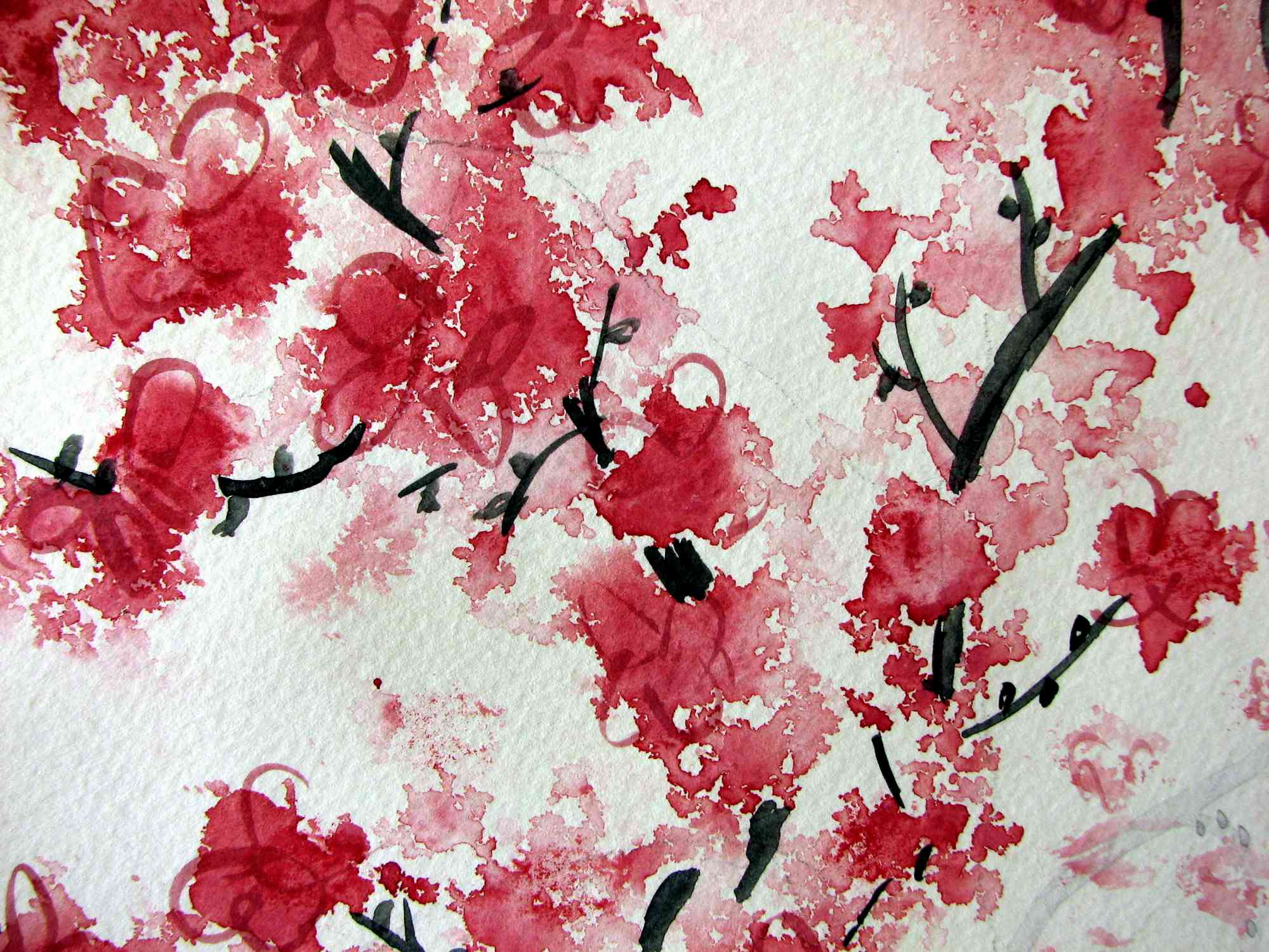 2000x1500 Red Cherry Blossom Painting Hd Wallpaper Background Images 1920x1200