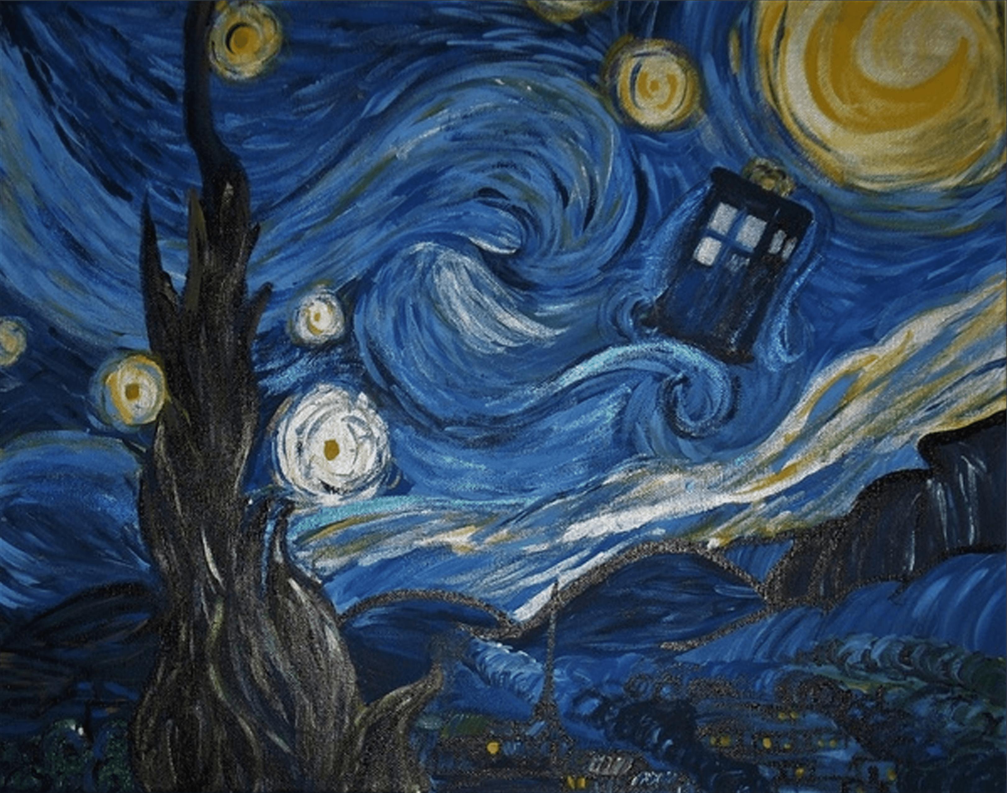 3840x1080 Tardis Van Gogh Wallpaper ...