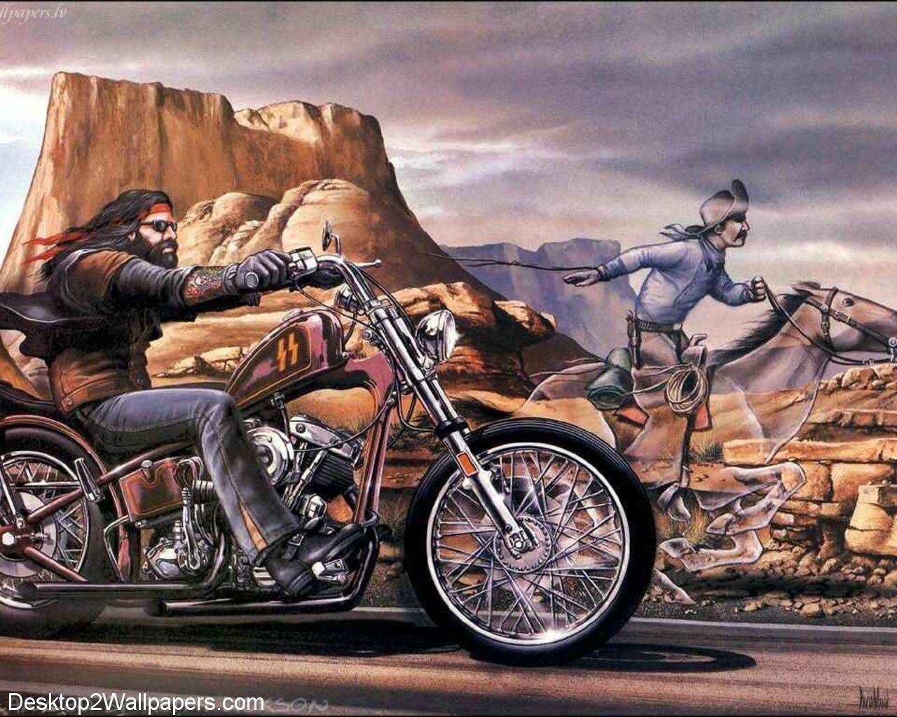 1280x1024 Harley Chopper Babes