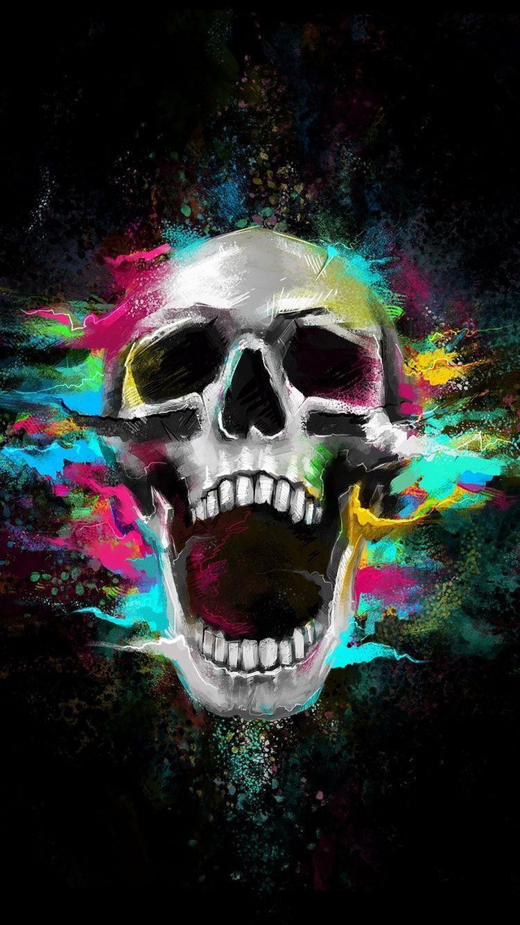 Skull Art Iphone Wallpapers Top Free Skull Art Iphone Backgrounds Wallpaperaccess