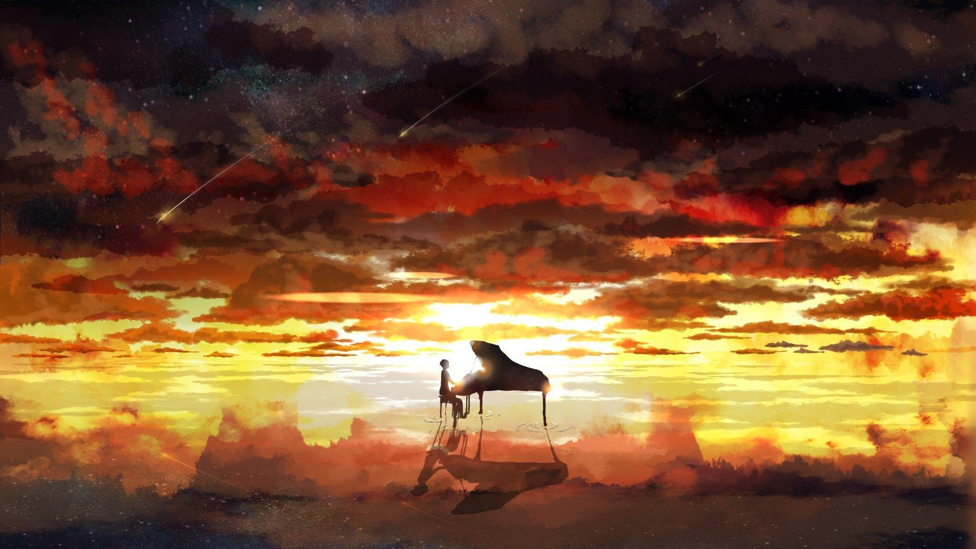1920x1080 Piano Rising Sun Anime hình nền