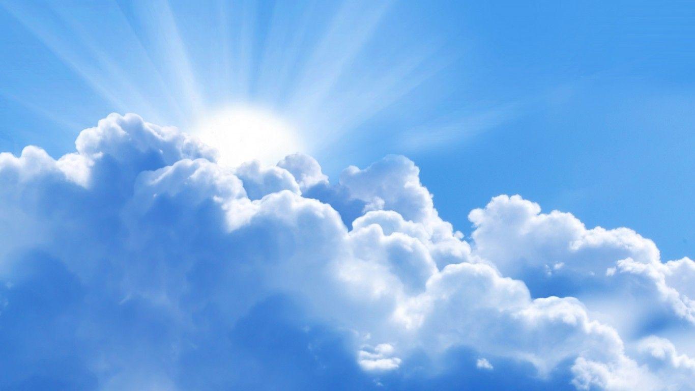 1366x768 Sky: Rising Sun Clouds Bright Blue Sky Wallpaper Pics for HD 16: 9