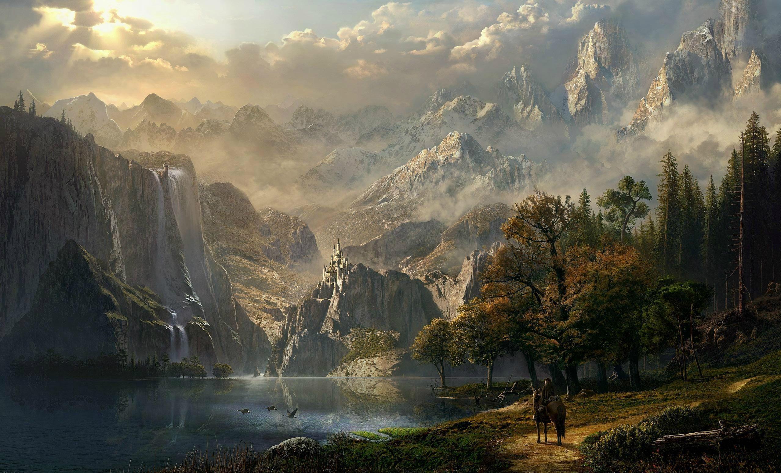 Hình nền phong cảnh thời Trung cổ 2558x1550 - Tải xuống.  Phong cảnh tưởng tượng, Hình nền phong cảnh, Phong cảnh thung lũng