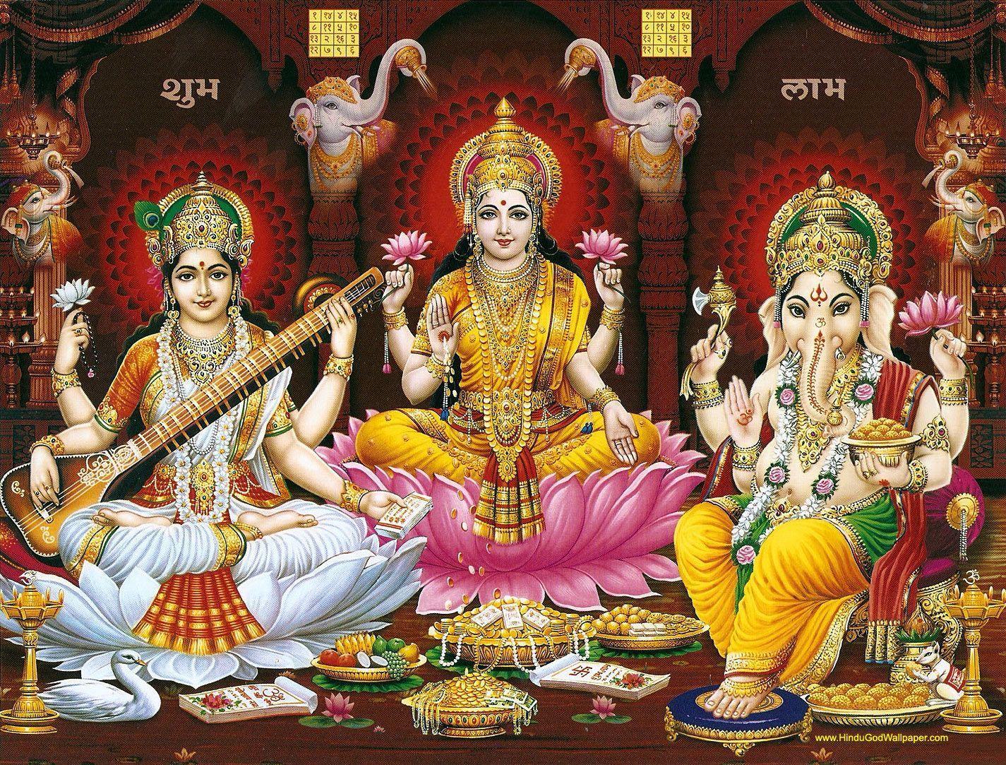 Laxmi Ganesh Saraswati Wallpapers Top Free Laxmi Ganesh Saraswati Backgrounds Wallpaperaccess