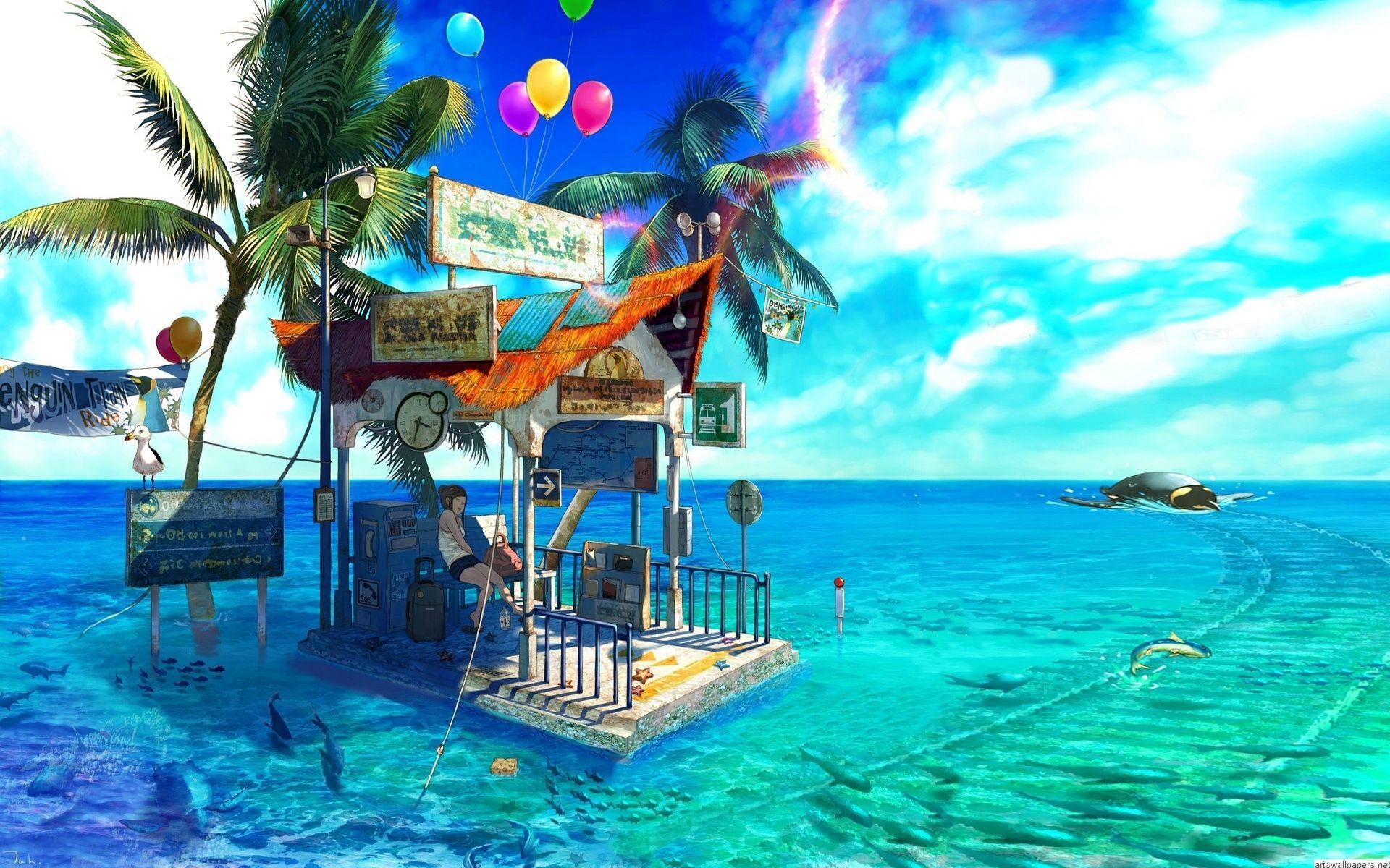 Anime Beach Wallpapers Top Free Anime Beach Backgrounds Wallpaperaccess Akame ga kill esdeath anime blue hair chair long hair blue background blue eyes wallpaper. anime beach wallpapers top free anime