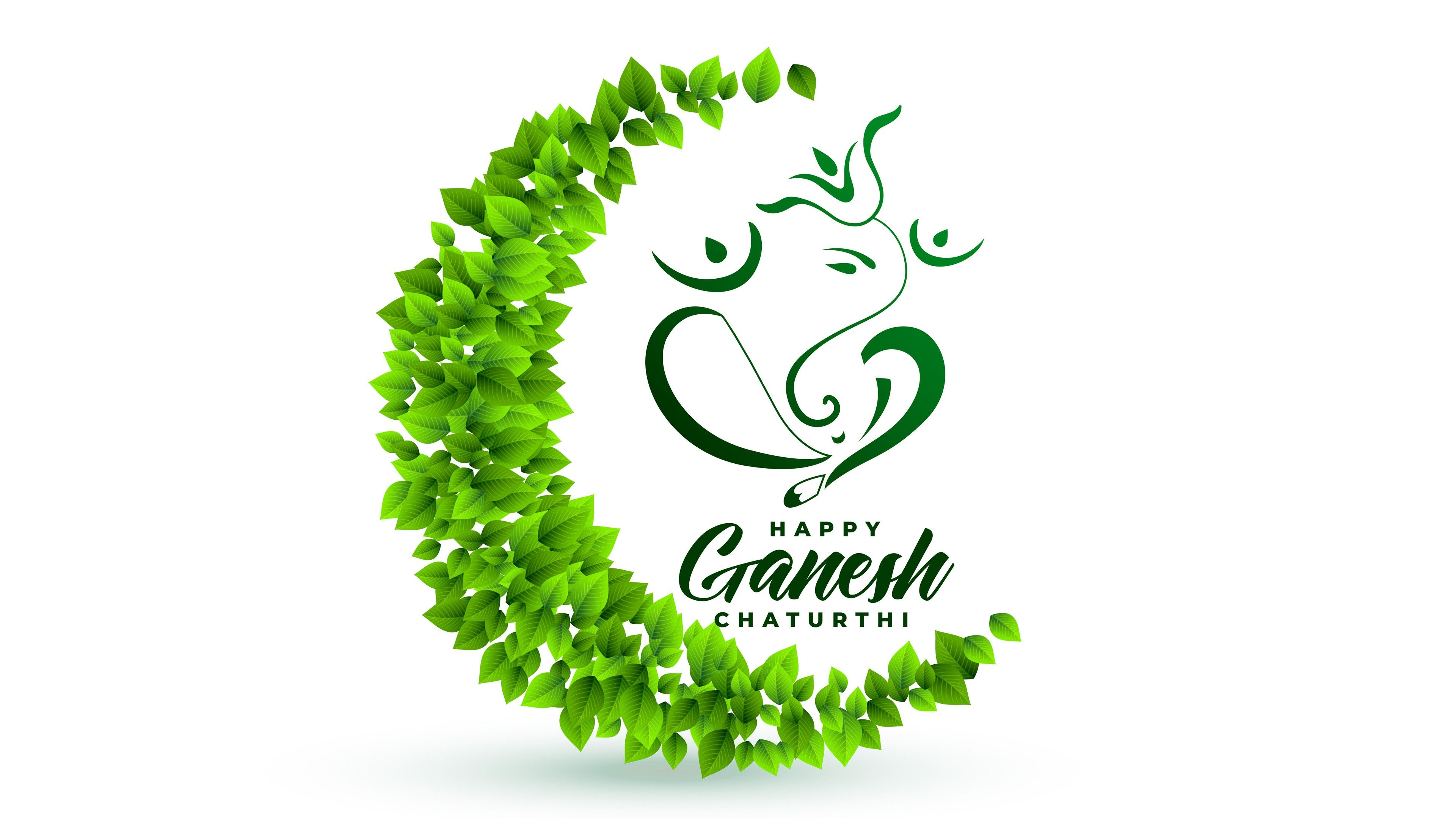 Hình nền 3840x2160 Green Ganesh Chaturthi 4K