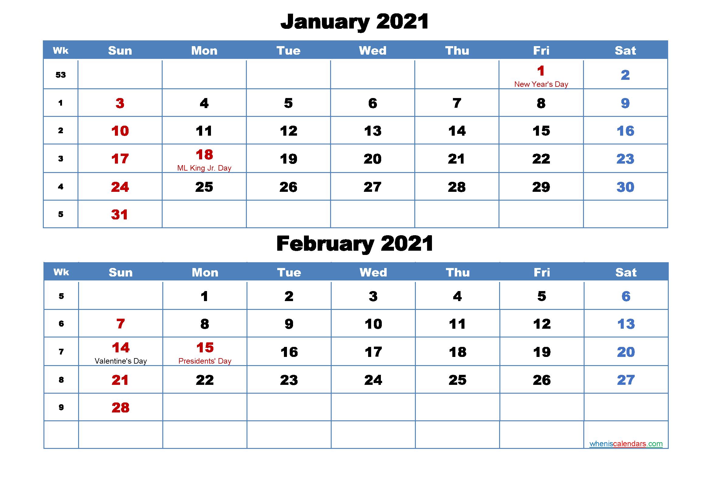 Printable Calendar 2021 January : 2021 Free Printable ...