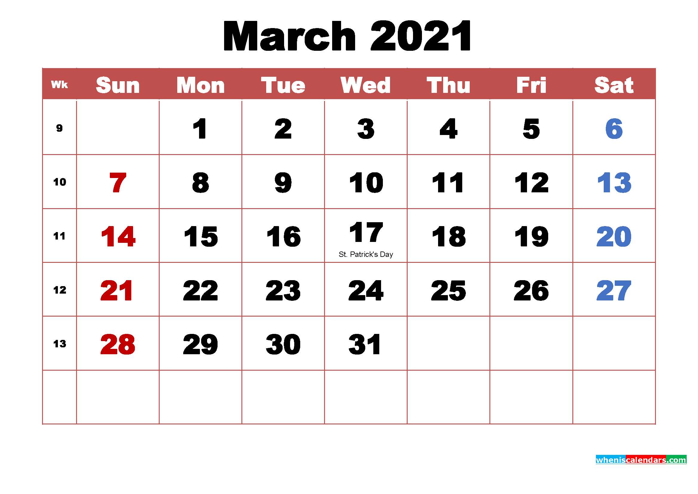 Month Calendar March 2021 Pictures