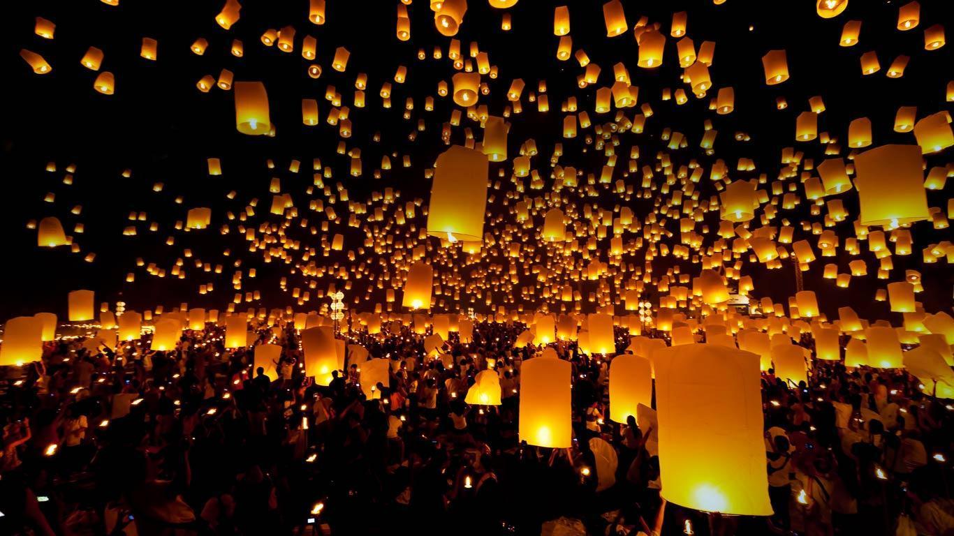 Floating Lantern Festival Ceremony Thailand Wallpapers Top Free Floating Lantern Festival Ceremony Thailand Backgrounds Wallpaperaccess