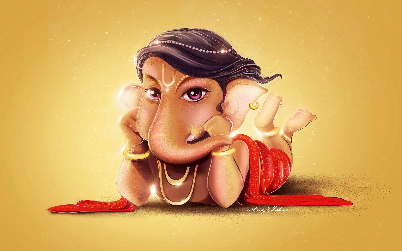 Hình nền 2880x1800 Chúa tể Ganesha, Dễ thương, Nghệ thuật số, HD, 4K, Đồ họa sáng tạo ,.  Hình nền cho iPhone, Android, Di động và Máy tính để bàn