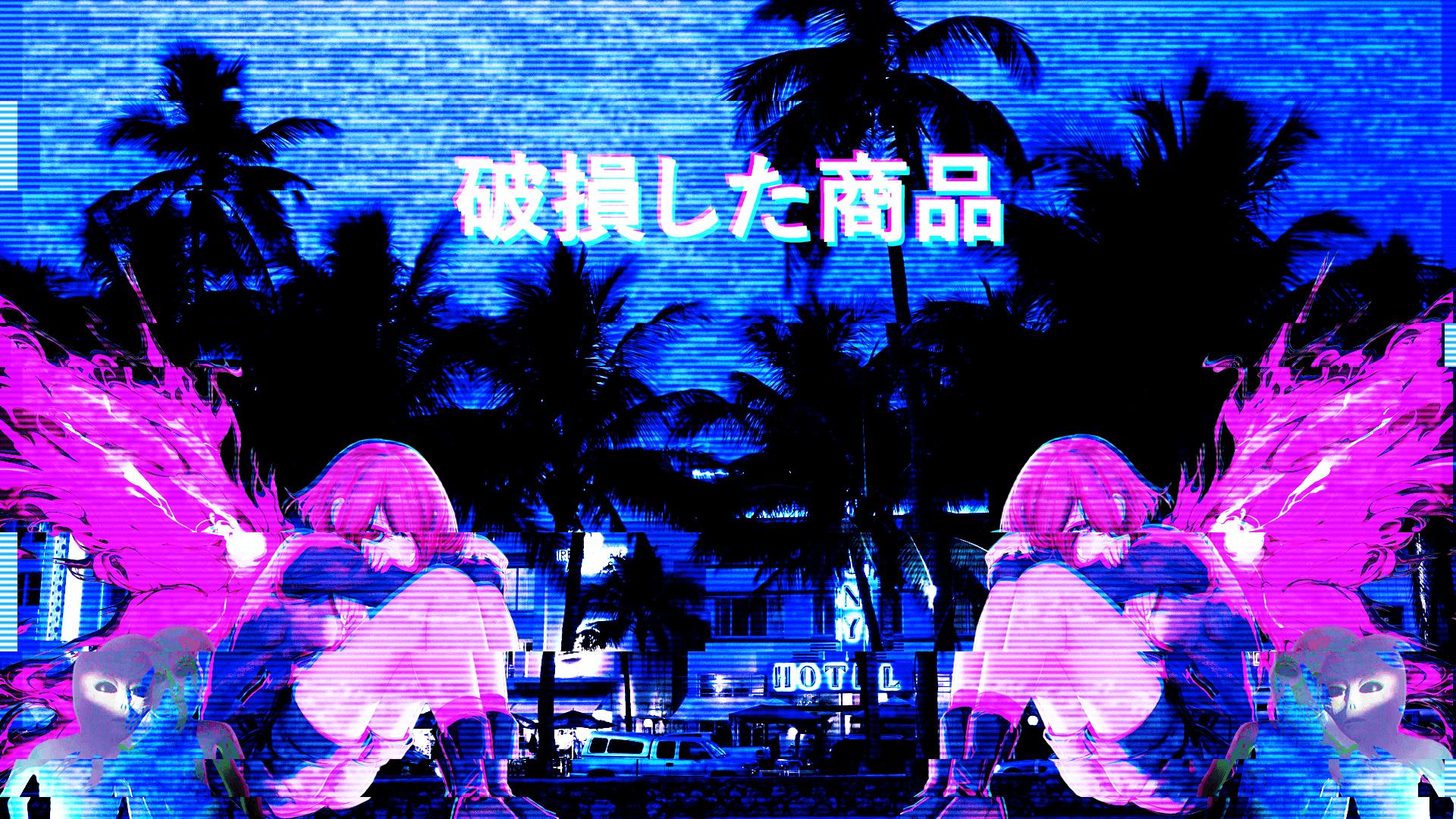 1920x1080 Anime HD Pink Blue Hình nền