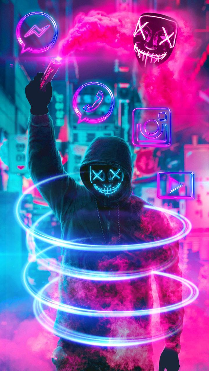 Cool Background Neon Mask Wallpaper