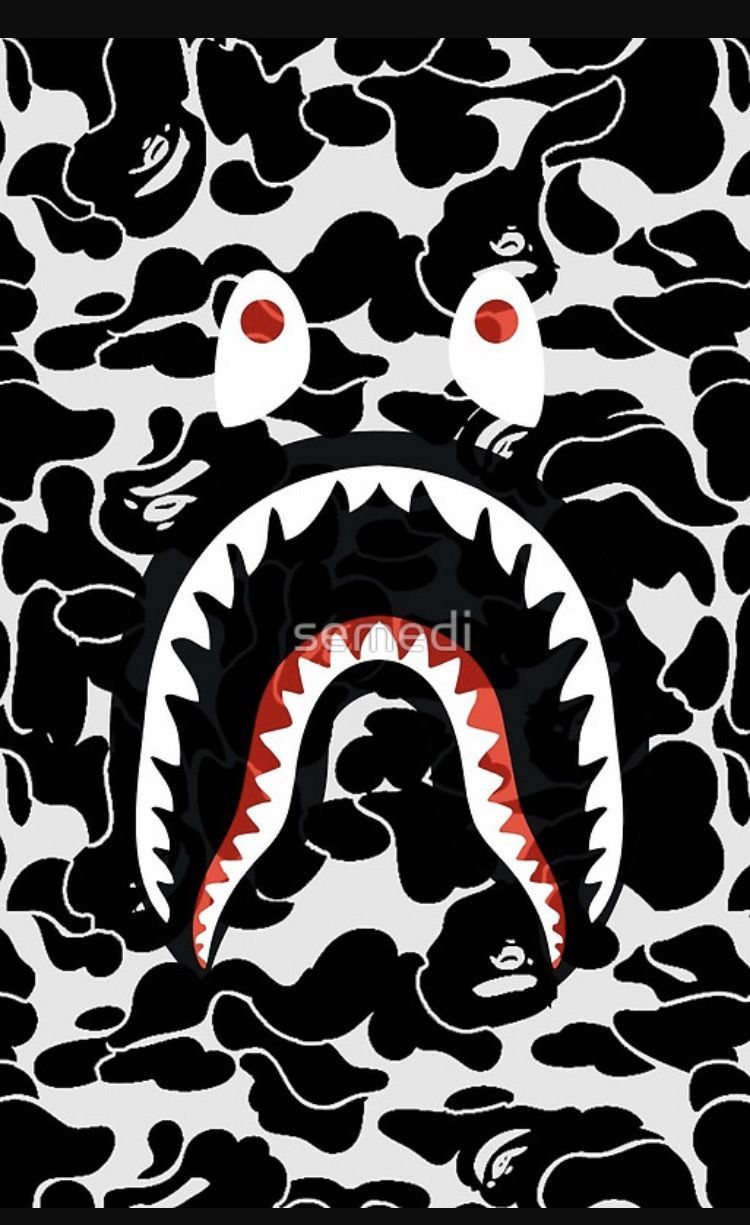 Bape mobile wallpapers top free bape mobile backgrounds wallpaperaccess - Camo shark wallpaper ...