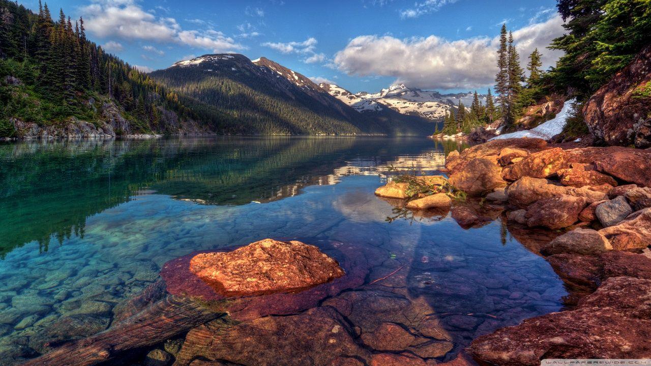 Hồ trên núi 1280x720 với nước trong ❤ Hình nền máy tính để bàn HD 4K cho 4K