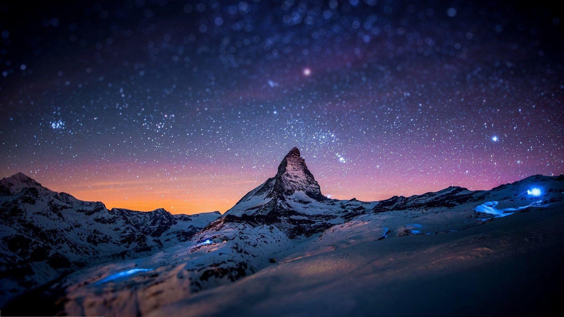 Hình ảnh HD 1920x1080 Mountain In Night