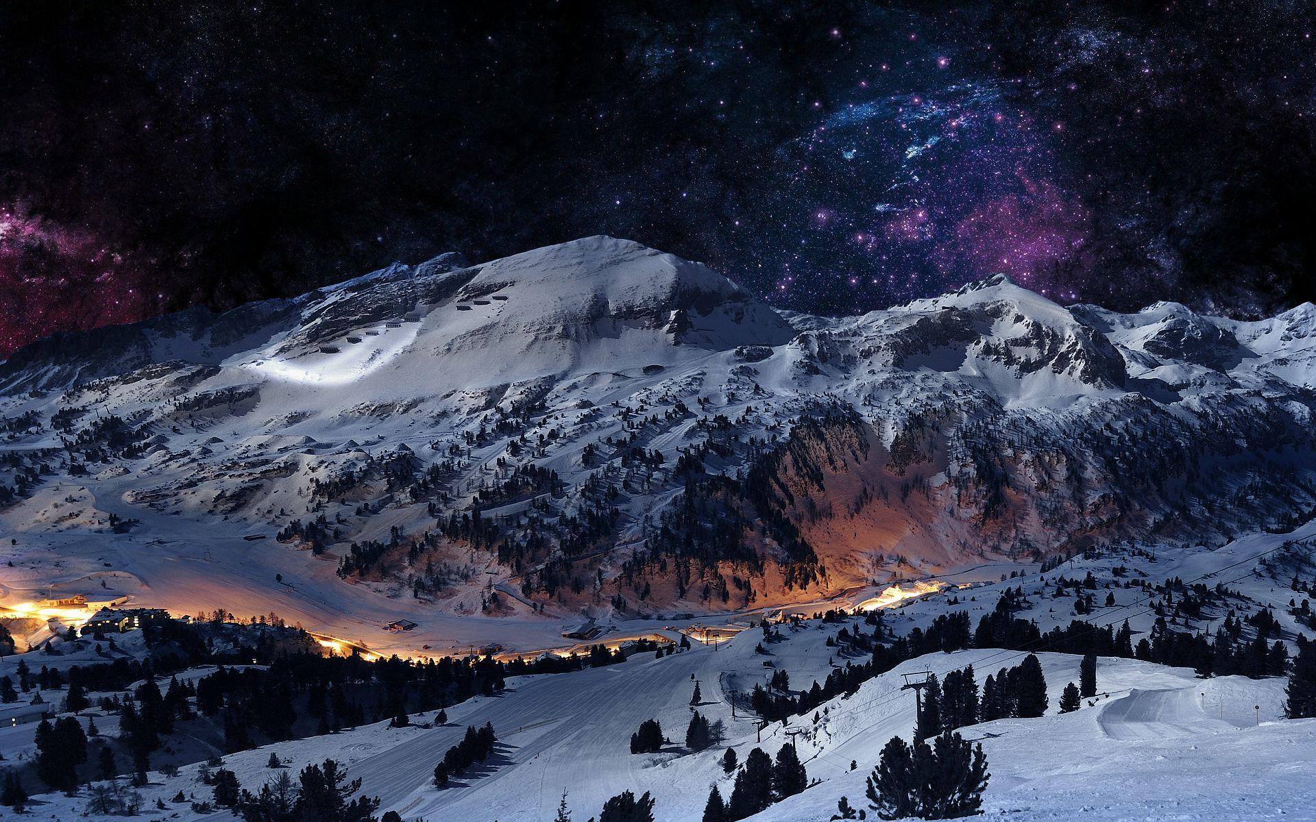 1920x1200 HD hình nền cảnh núi mùa đông