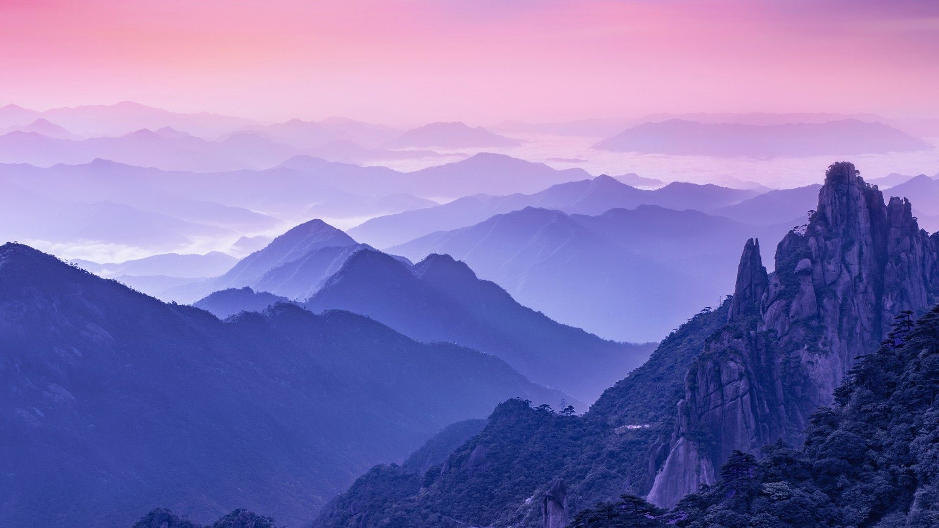 1920x1080 Dãy núi, Buổi sáng, Sương mù, Huawei Mate 10, Cổ phần, HD