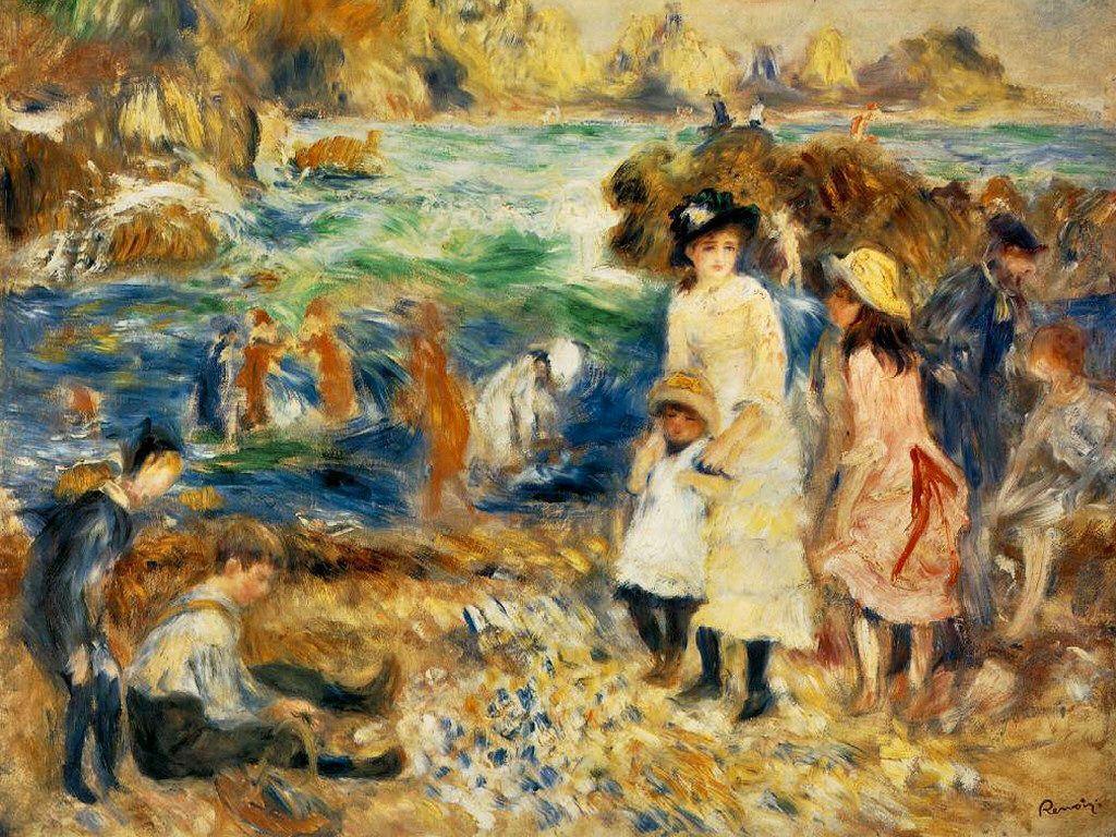 1024x768 Hình nền miễn phí của tôi - Hình nền nghệ thuật: Renoir - Cảnh bãi biển Guernsey