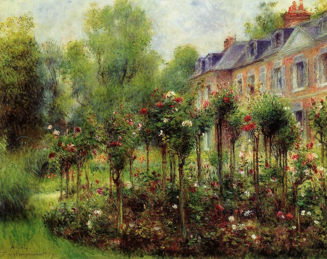 Hình nền 1131x895 Flower: Impressionism Roses Wargemont Renoir Rose Garden