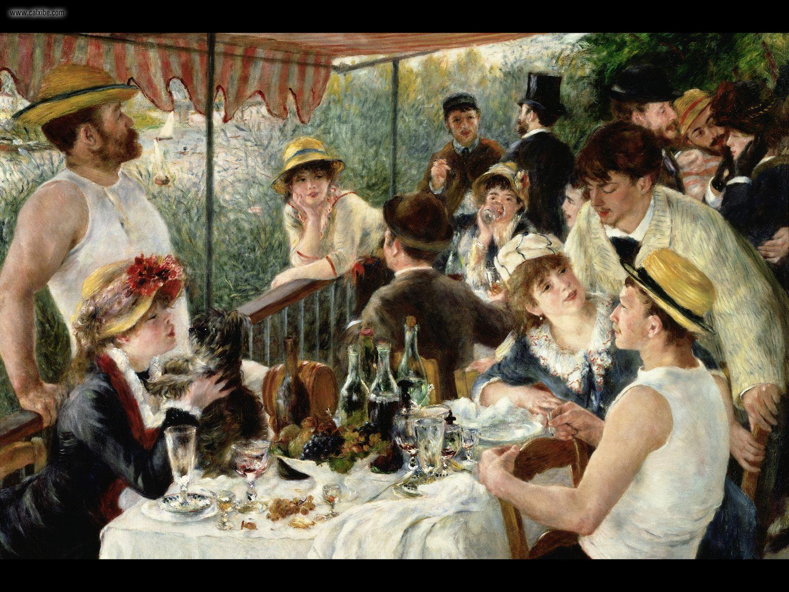 1600x1200 Vẽ & Tranh: Tiệc trưa của Tiệc chèo thuyền (Renoir), máy tính để bàn