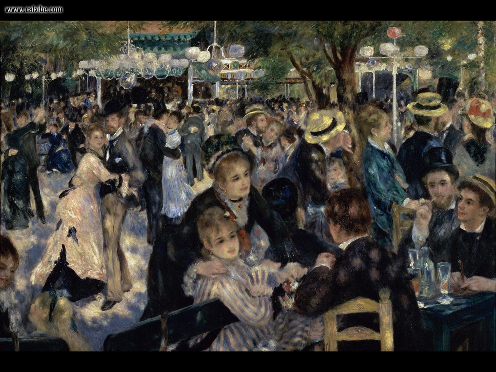 1600x1200 Vẽ & Tranh: Bal du moulin de la Galette, Renoir, máy tính để bàn