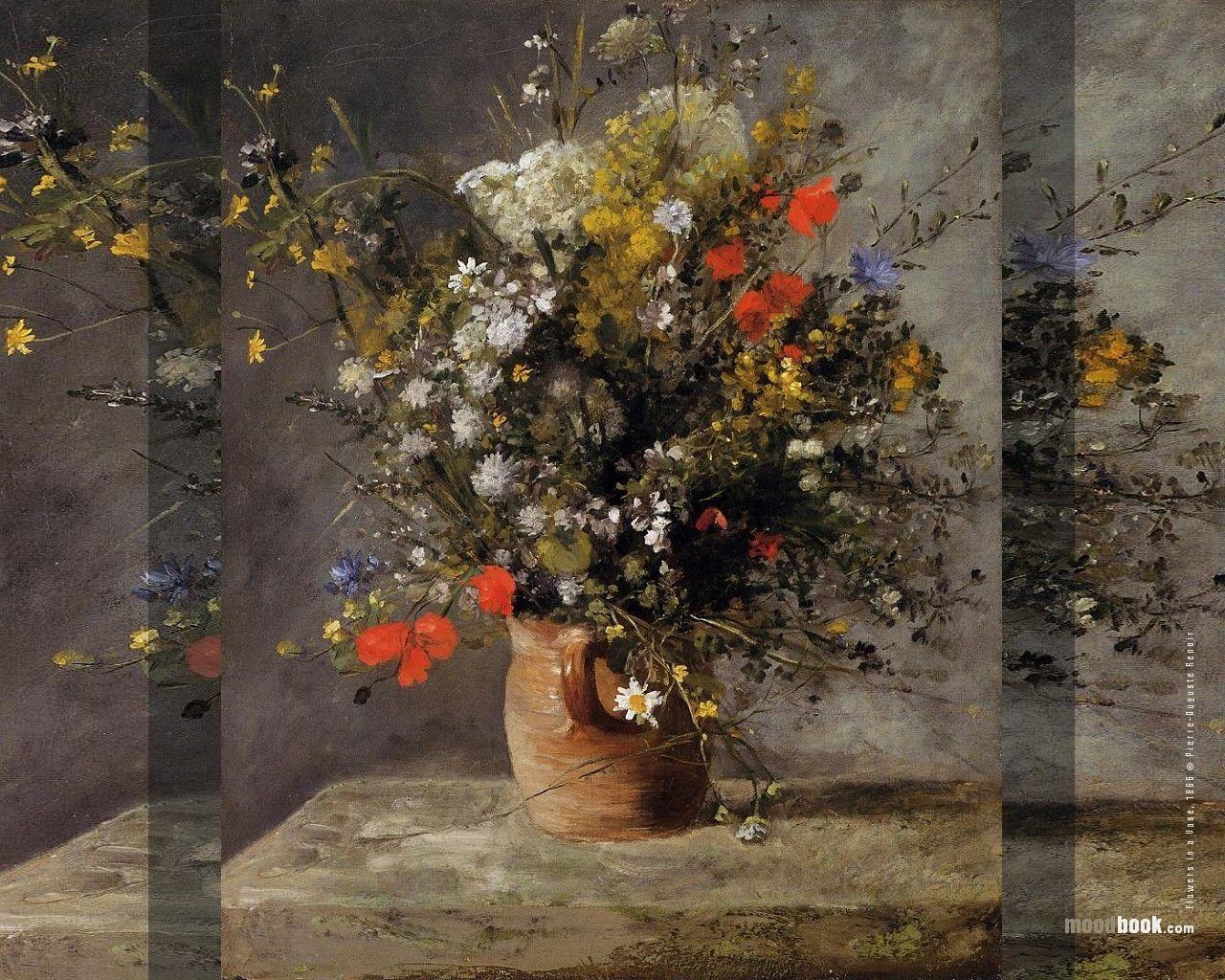 1280x1024 Hoa: Art Renoir Still Vase Auguste Pierre Pot Wild Beautiful