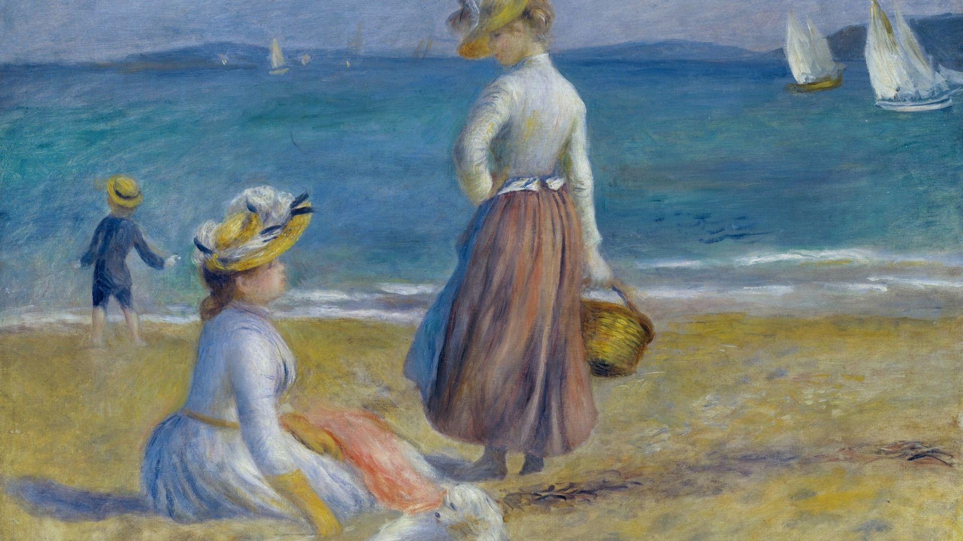 1920x1080 thuyền, Hình vẽ trên bãi biển, biển, Pierre Auguste Renoir,.  nghệ thuật