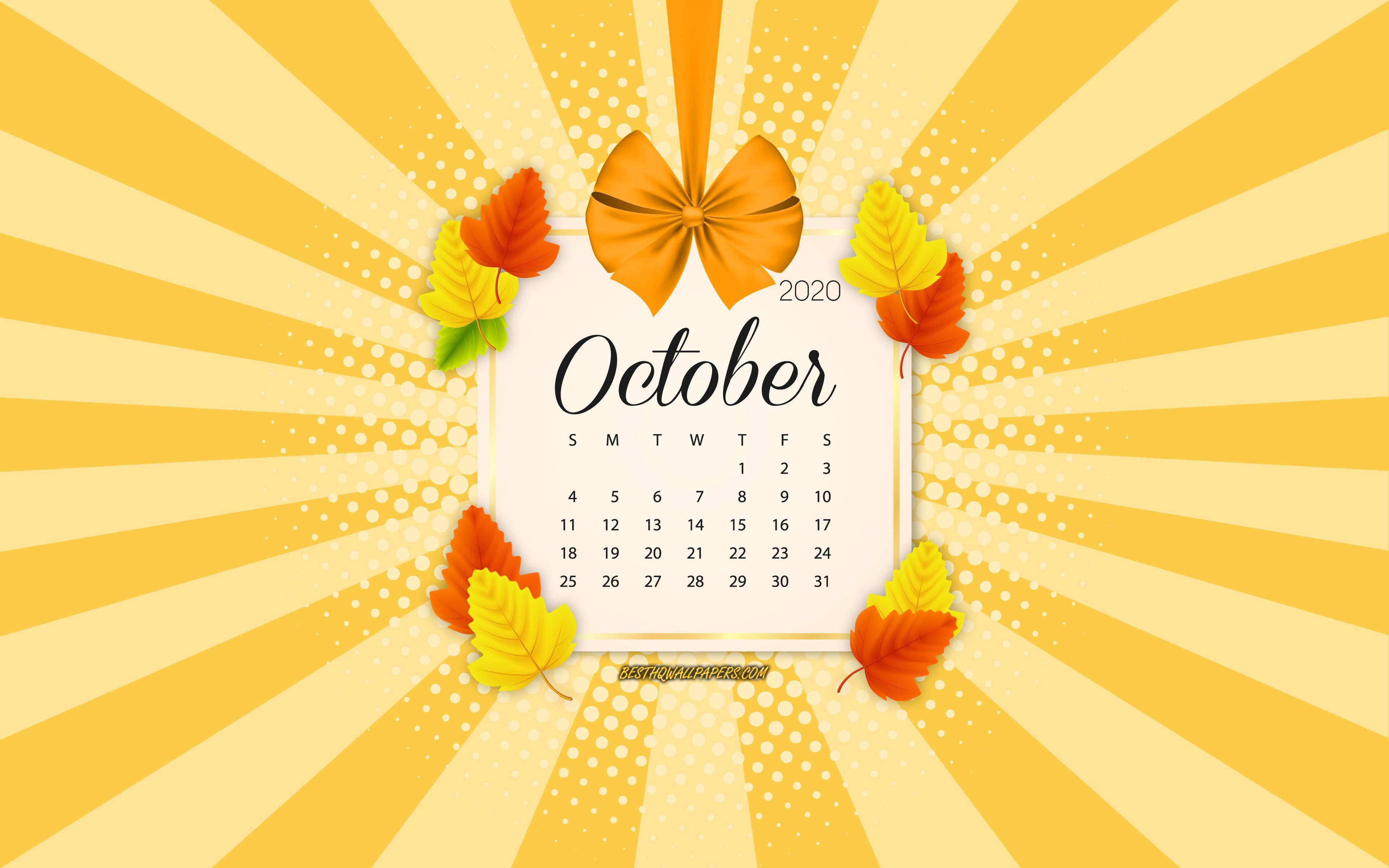 October 2020 Calendar Wallpapers Top Free October 2020 Calendar Backgrounds Wallpaperaccess