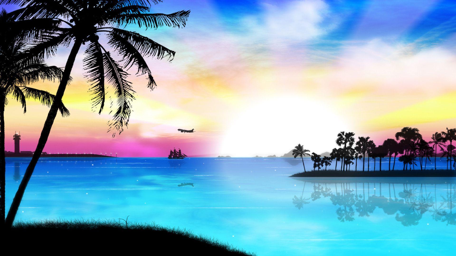 1920x1080 HD Tropical Island Beach Paradise Wallpaper And Background - Tropical Beach Sunset Background - 1680x1050 - Tải xuống Hình nền HD